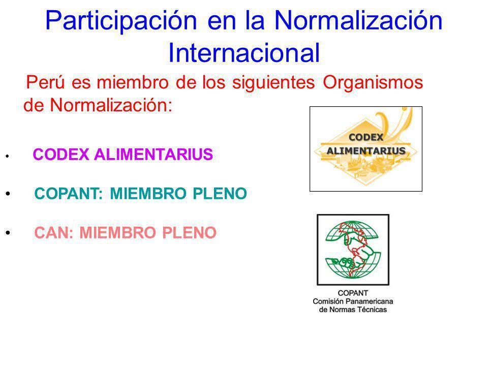Participación en la Normalización Internacional Perú es miembro de los siguientes Organismos de Normalización: CODEX ALIMENTARIUS COPANT: MIEMBRO PLEN