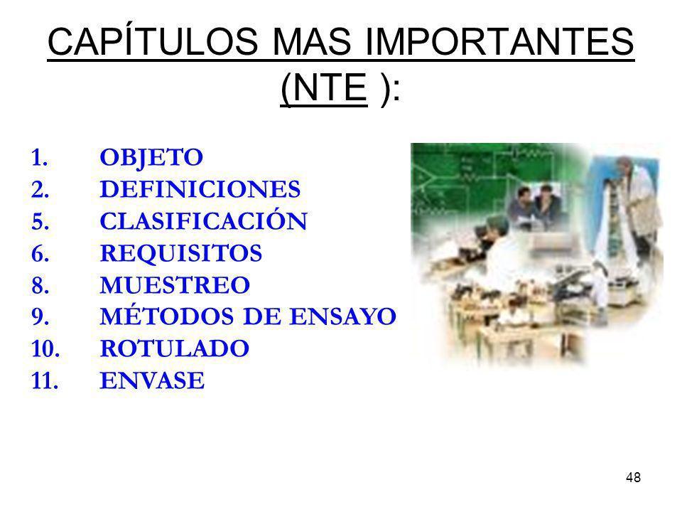 48 CAPÍTULOS MAS IMPORTANTES (NTE ): 1.OBJETO 2.DEFINICIONES 5.CLASIFICACIÓN 6. REQUISITOS 8.MUESTREO 9.MÉTODOS DE ENSAYO 10.ROTULADO 11.ENVASE
