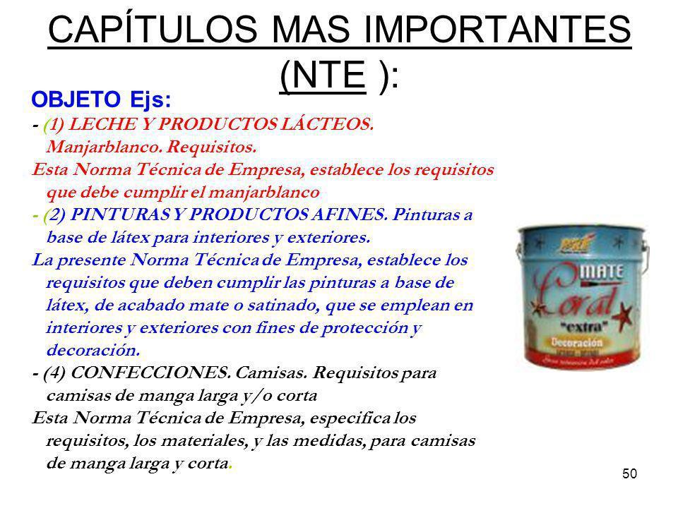 50 CAPÍTULOS MAS IMPORTANTES (NTE ): OBJETO Ejs: - (1) LECHE Y PRODUCTOS LÁCTEOS. Manjarblanco. Requisitos. Esta Norma Técnica de Empresa, establece l