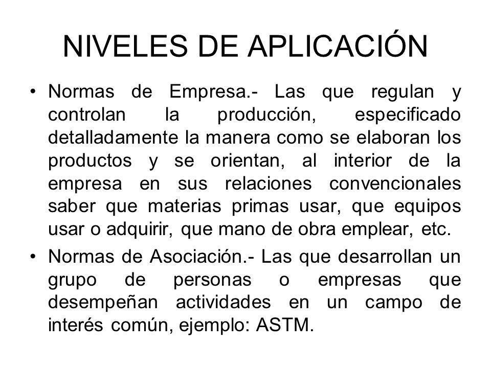 NIVELES DE APLICACIÓN Normas de Empresa.- Las que regulan y controlan la producción, especificado detalladamente la manera como se elaboran los produc