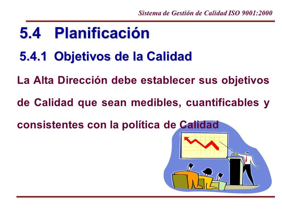 Sistema de Gestión de Calidad ISO 9001:2000 5.4 Planificación 5.4.1 Objetivos de la Calidad La Alta Dirección debe establecer sus objetivos de Calidad