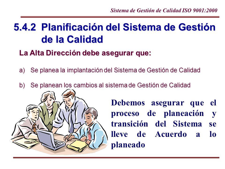 Sistema de Gestión de Calidad ISO 9001:2000 5.4.2 Planificación del Sistema de Gestión de la Calidad La Alta Dirección debe asegurar que: a)Se planea