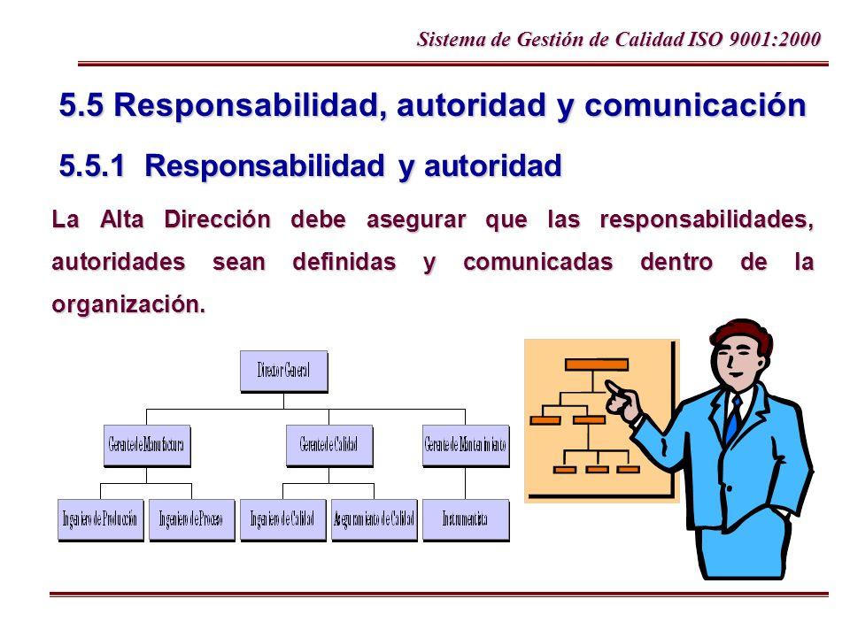 Sistema de Gestión de Calidad ISO 9001:2000 5.5 Responsabilidad, autoridad y comunicación 5.5.1 Responsabilidad y autoridad La Alta Dirección debe ase