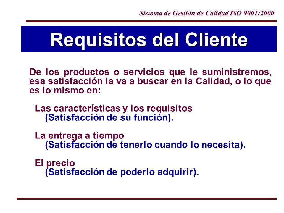 Sistema de Gestión de Calidad ISO 9001:2000 De los productos o servicios que le suministremos, esa satisfacción la va a buscar en la Calidad, o lo que