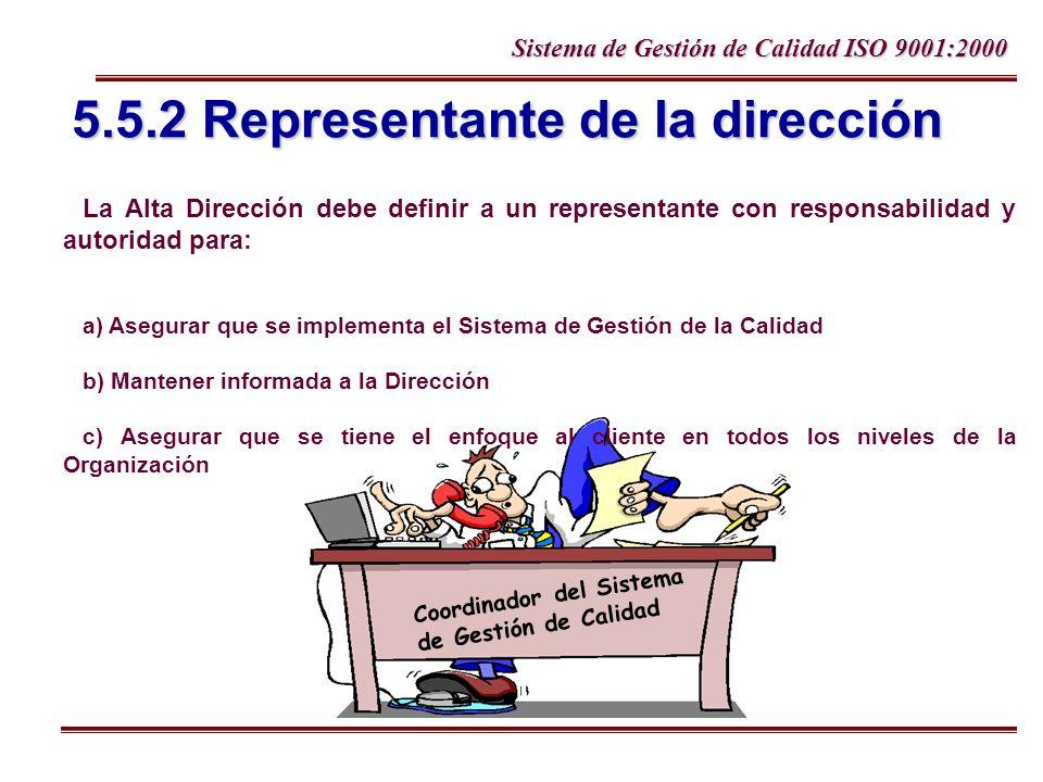 Sistema de Gestión de Calidad ISO 9001:2000 5.5.2 Representante de la dirección La Alta Dirección debe definir a un representante con responsabilidad