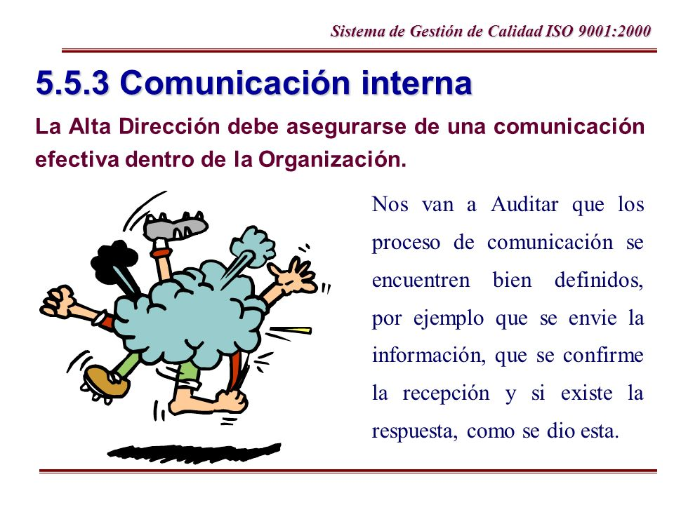 Sistema de Gestión de Calidad ISO 9001:2000 5.5.3 Comunicación interna La Alta Dirección debe asegurarse de una comunicación efectiva dentro de la Org