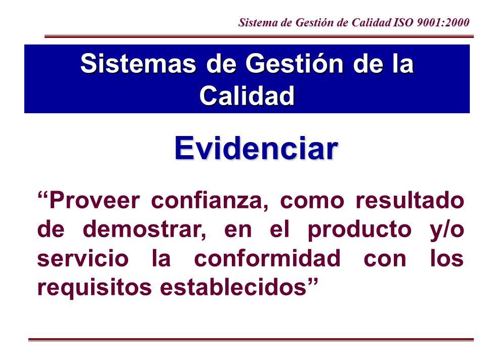 Sistema de Gestión de Calidad ISO 9001:2000 Sistemas de Gestión de la Calidad Proveer confianza, como resultado de demostrar, en el producto y/o servi