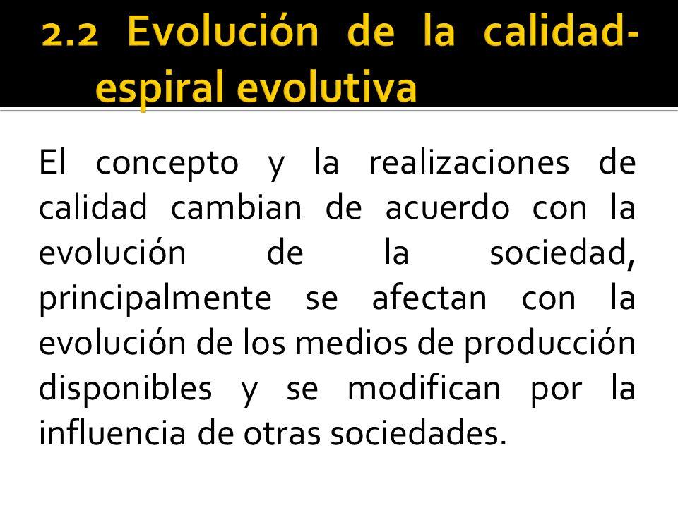 El concepto y la realizaciones de calidad cambian de acuerdo con la evolución de la sociedad, principalmente se afectan con la evolución de los medios