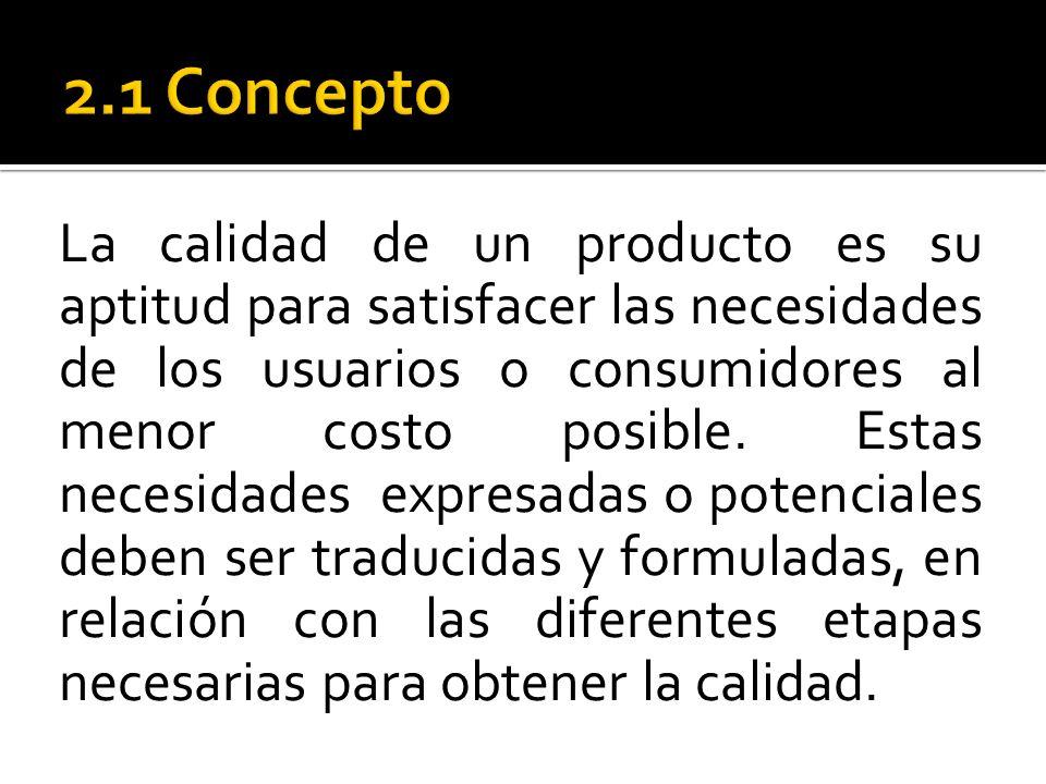 La calidad de un producto es su aptitud para satisfacer las necesidades de los usuarios o consumidores al menor costo posible. Estas necesidades expre