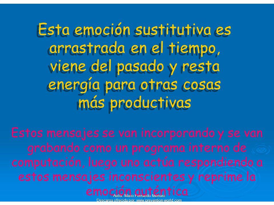 Autor: Mario Fernando Méndez Descarga ofrecida por: www.prevention-world.com Esta emoción sustitutiva es arrastrada en el tiempo, viene del pasado y r