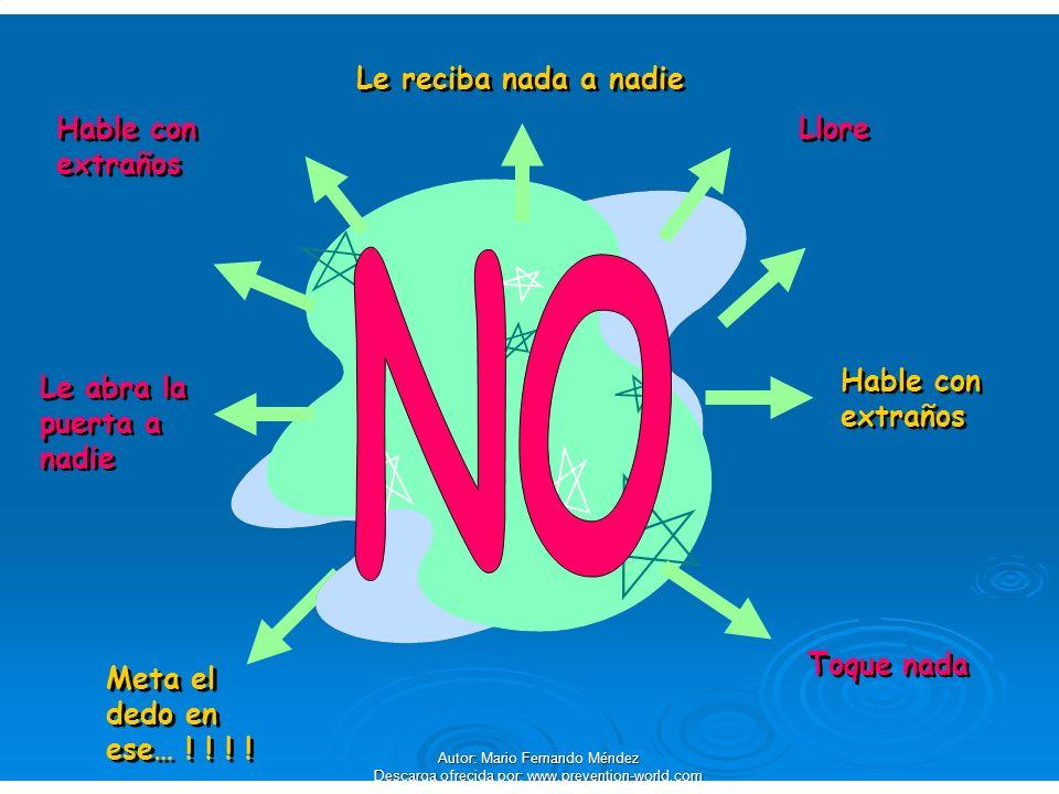 Autor: Mario Fernando Méndez Descarga ofrecida por: www.prevention-world.com Hable con extraños Le abra la puerta a nadie Le reciba nada a nadie Toque