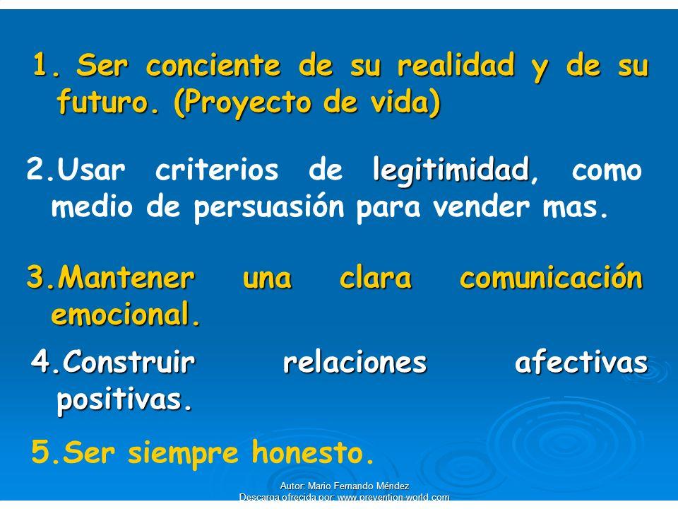 1. Ser conciente de su realidad y de su futuro. (Proyecto de vida) legitimidad 2.Usar criterios de legitimidad, como medio de persuasión para vender m