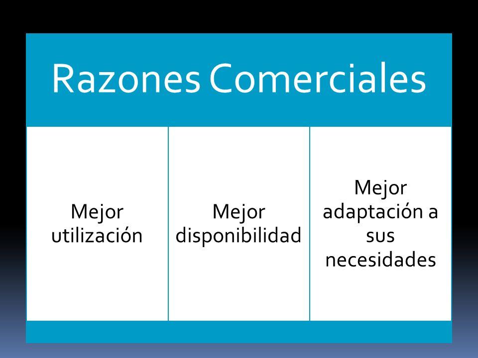 Razones Comerciales Mejor utilización Mejor disponibilidad Mejor adaptación a sus necesidades