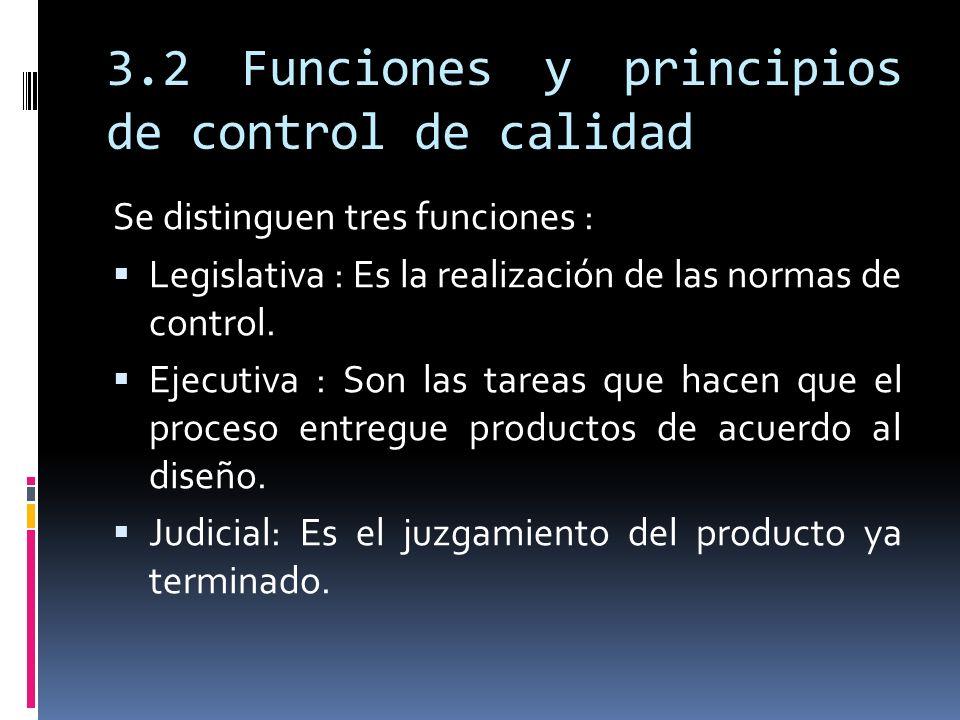 3.2 Funciones y principios de control de calidad Se distinguen tres funciones : Legislativa : Es la realización de las normas de control. Ejecutiva :