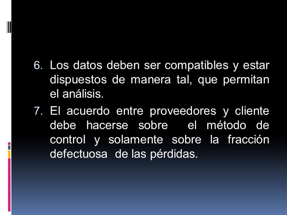 6. Los datos deben ser compatibles y estar dispuestos de manera tal, que permitan el análisis. 7. El acuerdo entre proveedores y cliente debe hacerse
