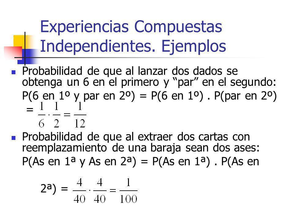 Experiencias Compuestas Independientes. Ejemplos Probabilidad de que al lanzar dos dados se obtenga un 6 en el primero y par en el segundo: P(6 en 1º