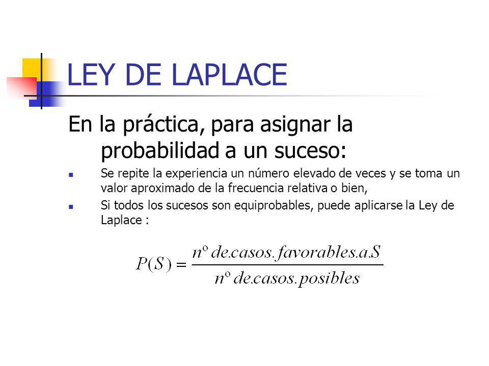 LEY DE LAPLACE En la práctica, para asignar la probabilidad a un suceso: Se repite la experiencia un número elevado de veces y se toma un valor aproxi