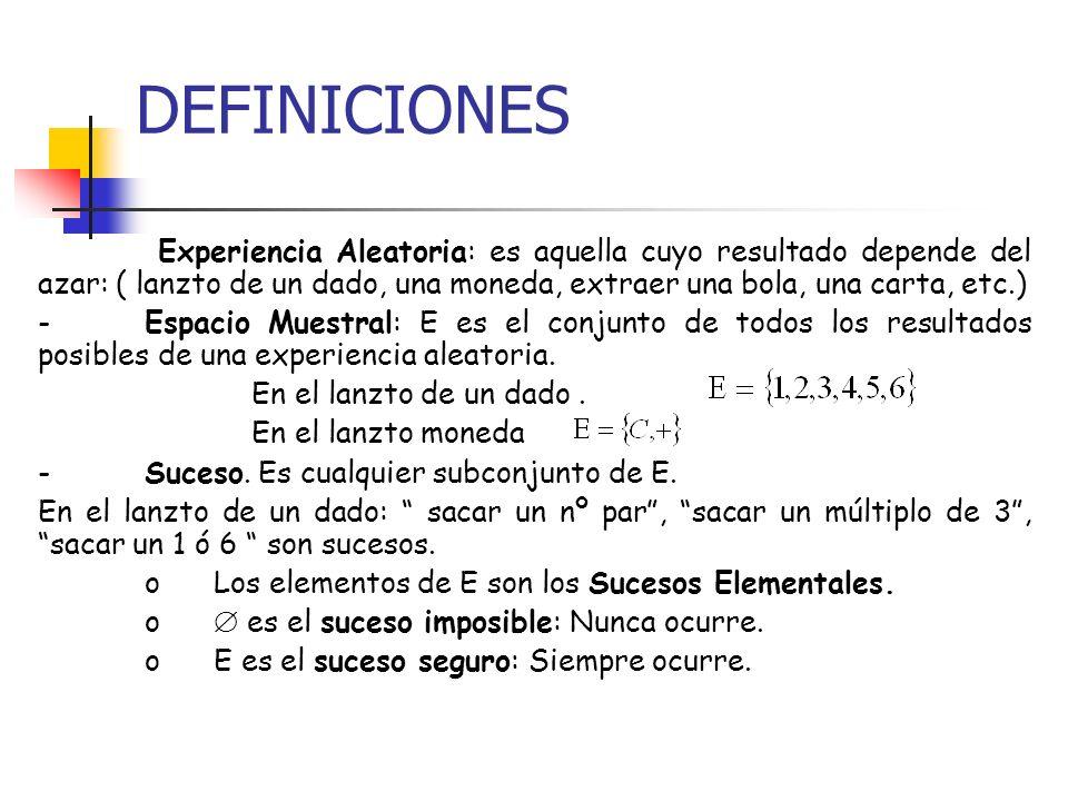 DEFINICIONES Experiencia Aleatoria: es aquella cuyo resultado depende del azar: ( lanzto de un dado, una moneda, extraer una bola, una carta, etc.) -