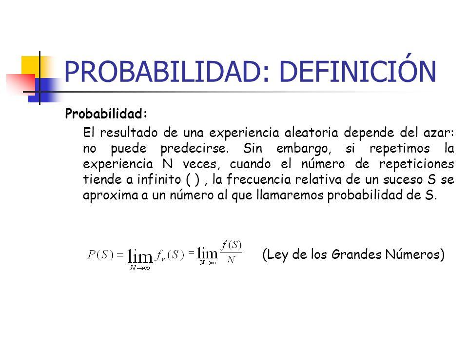 PROBABILIDAD: DEFINICIÓN Probabilidad: El resultado de una experiencia aleatoria depende del azar: no puede predecirse. Sin embargo, si repetimos la e