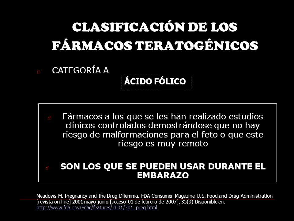 CLASIFICACIÓN DE LOS FÁRMACOS TERATOGÉNICOS CATEGORÍA A Fármacos a los que se les han realizado estudios clínicos controlados demostrándose que no hay riesgo de malformaciones para el feto o que este riesgo es muy remoto SON LOS QUE SE PUEDEN USAR DURANTE EL EMBARAZO Meadows M.