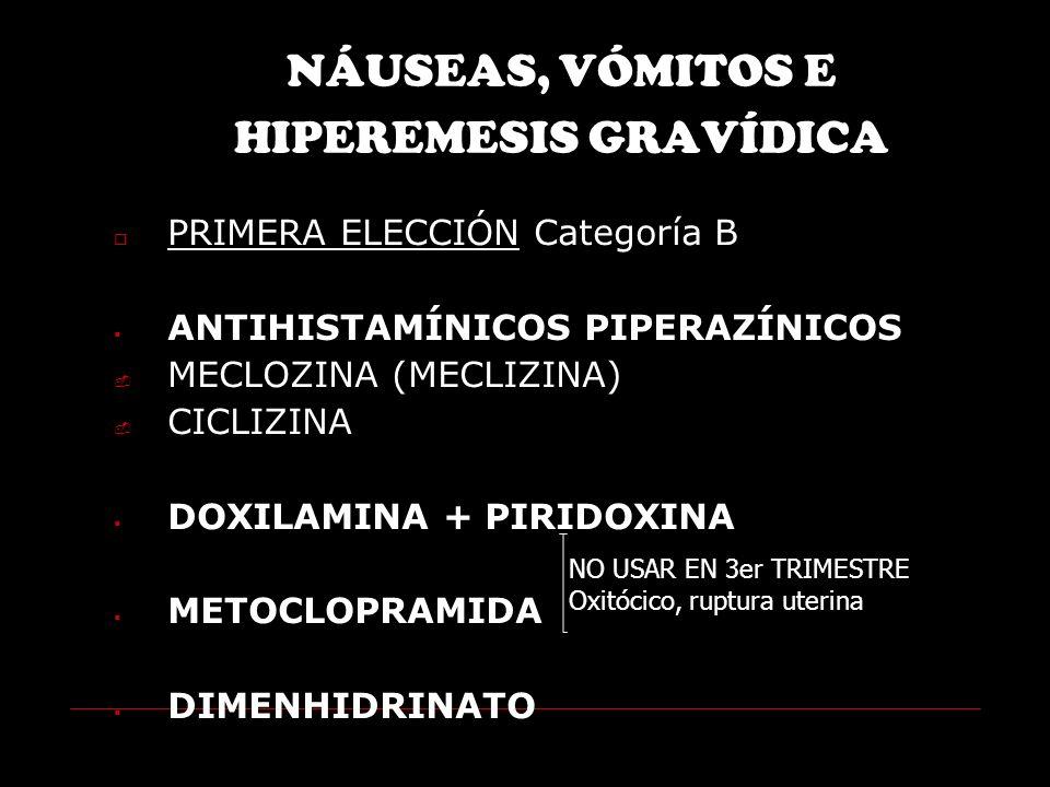 NÁUSEAS, VÓMITOS E HIPEREMESIS GRAVÍDICA PRIMERA ELECCIÓN Categoría B ANTIHISTAMÍNICOS PIPERAZÍNICOS MECLOZINA (MECLIZINA) CICLIZINA DOXILAMINA + PIRIDOXINA METOCLOPRAMIDA DIMENHIDRINATO NO USAR EN 3er TRIMESTRE Oxitócico, ruptura uterina