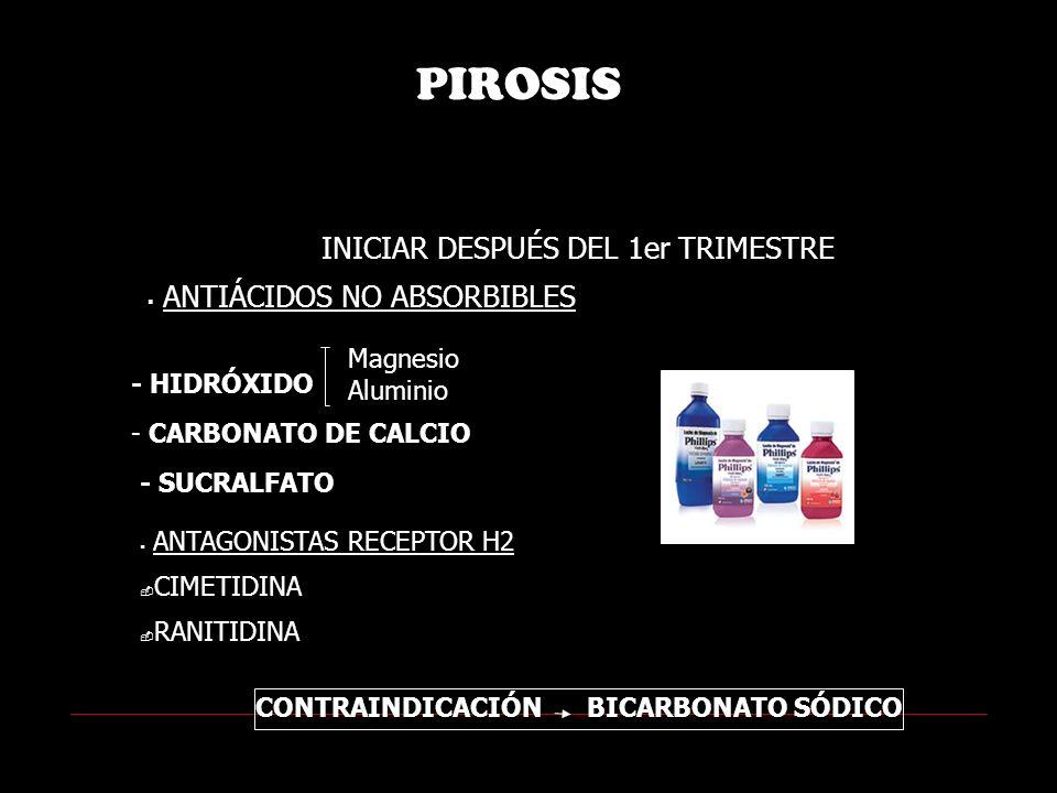 PIROSIS INICIAR DESPUÉS DEL 1er TRIMESTRE ANTIÁCIDOS NO ABSORBIBLES Magnesio Aluminio - HIDRÓXIDO - SUCRALFATO ANTAGONISTAS RECEPTOR H2 CIMETIDINA RANITIDINA CONTRAINDICACIÓN BICARBONATO SÓDICO - CARBONATO DE CALCIO