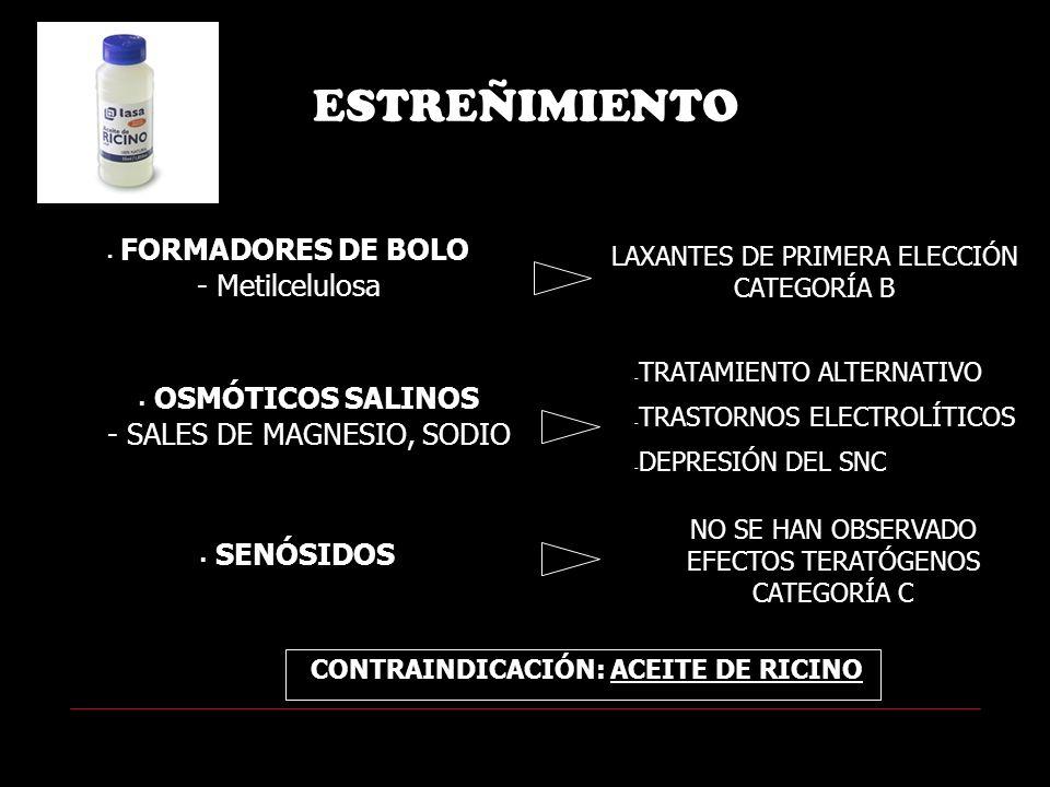 ESTREÑIMIENTO FORMADORES DE BOLO - Metilcelulosa LAXANTES DE PRIMERA ELECCIÓN CATEGORÍA B - TRATAMIENTO ALTERNATIVO - TRASTORNOS ELECTROLÍTICOS - DEPRESIÓN DEL SNC OSMÓTICOS SALINOS - SALES DE MAGNESIO, SODIO SENÓSIDOS NO SE HAN OBSERVADO EFECTOS TERATÓGENOS CATEGORÍA C CONTRAINDICACIÓN: ACEITE DE RICINO