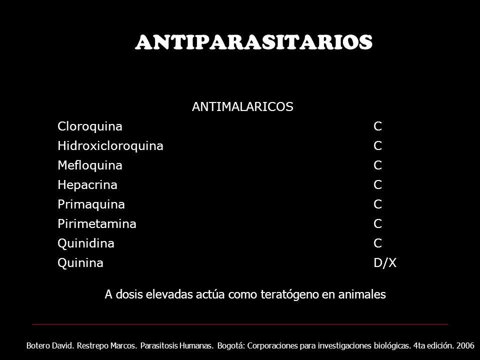ANTIPARASITARIOS ANTIMALARICOS CloroquinaC HidroxicloroquinaC MefloquinaC HepacrinaC PrimaquinaC PirimetaminaC QuinidinaC QuininaD/X A dosis elevadas actúa como teratógeno en animales Botero David.