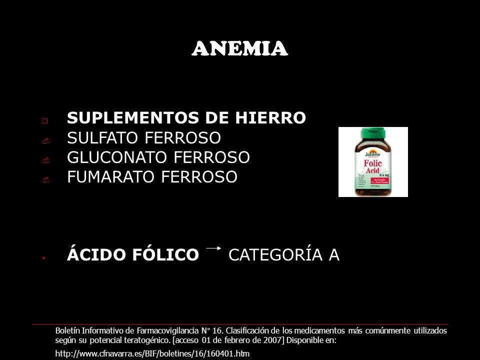 ANEMIA SUPLEMENTOS DE HIERRO SULFATO FERROSO GLUCONATO FERROSO FUMARATO FERROSO ÁCIDO FÓLICO CATEGORÍA A Boletín Informativo de Farmacovigilancia N° 16.