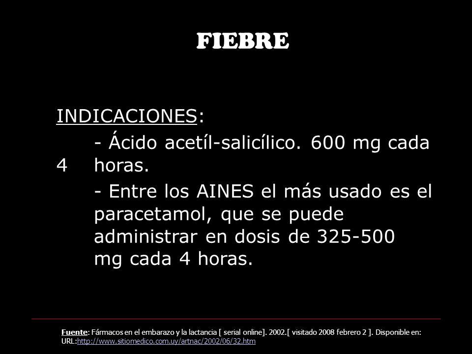 FIEBRE INDICACIONES: - Ácido acetíl-salicílico. 600 mg cada 4 horas.