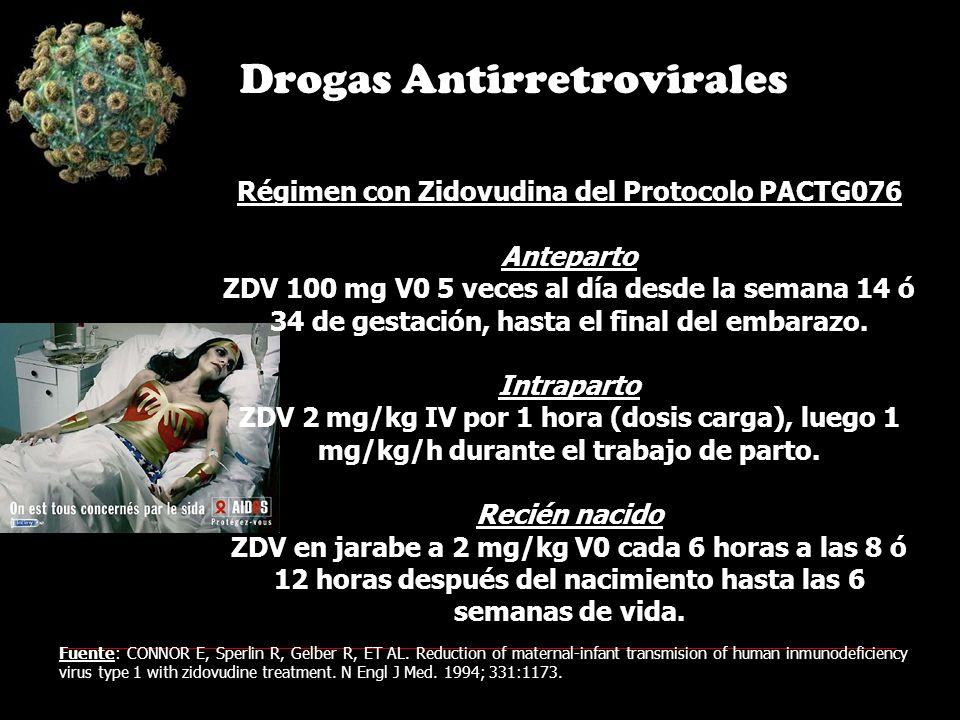 Régimen con Zidovudina del Protocolo PACTG076 Anteparto ZDV 100 mg V0 5 veces al día desde la semana 14 ó 34 de gestación, hasta el final del embarazo.