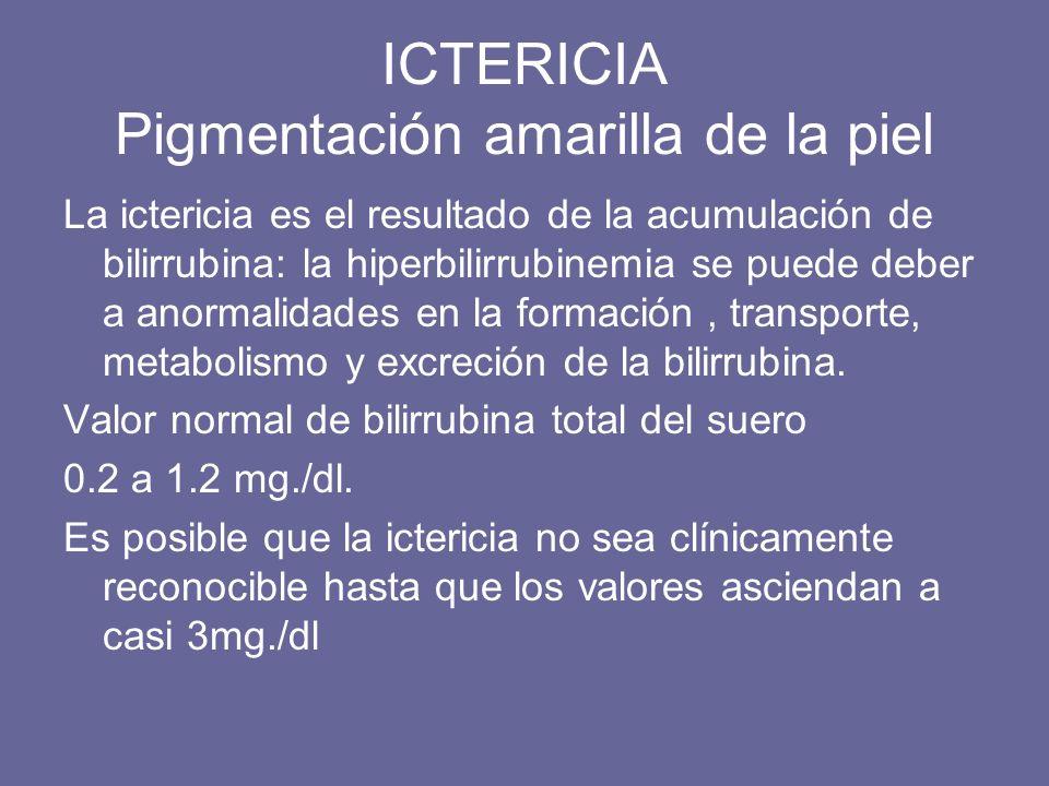 ICTERICIA Pigmentación amarilla de la piel La ictericia es el resultado de la acumulación de bilirrubina: la hiperbilirrubinemia se puede deber a anor