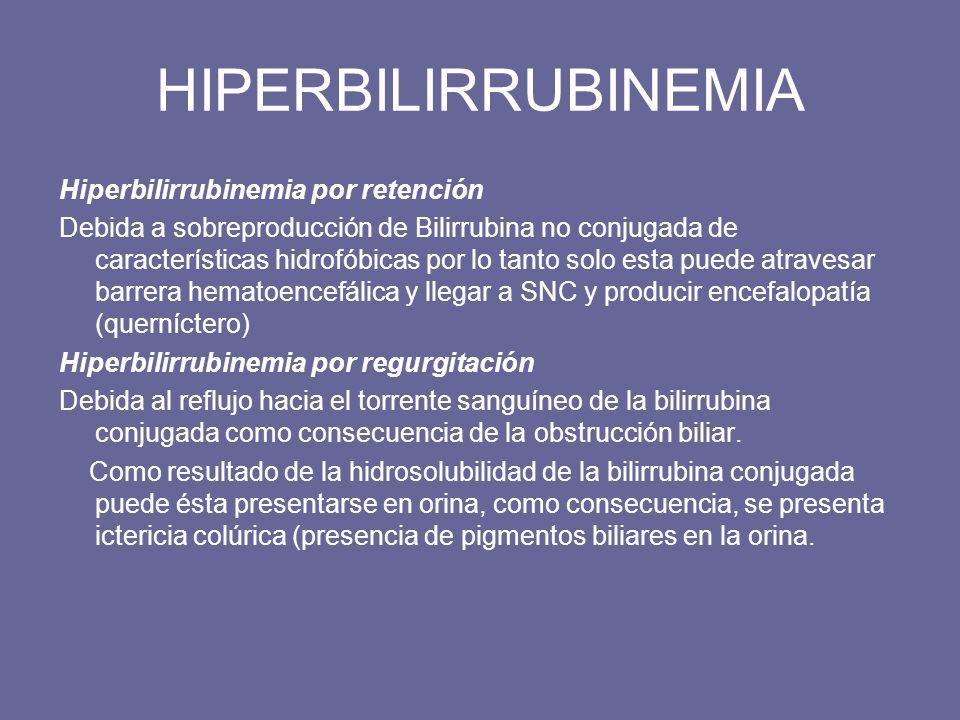 HIPERBILIRRUBINEMIA Hiperbilirrubinemia por retención Debida a sobreproducción de Bilirrubina no conjugada de características hidrofóbicas por lo tant