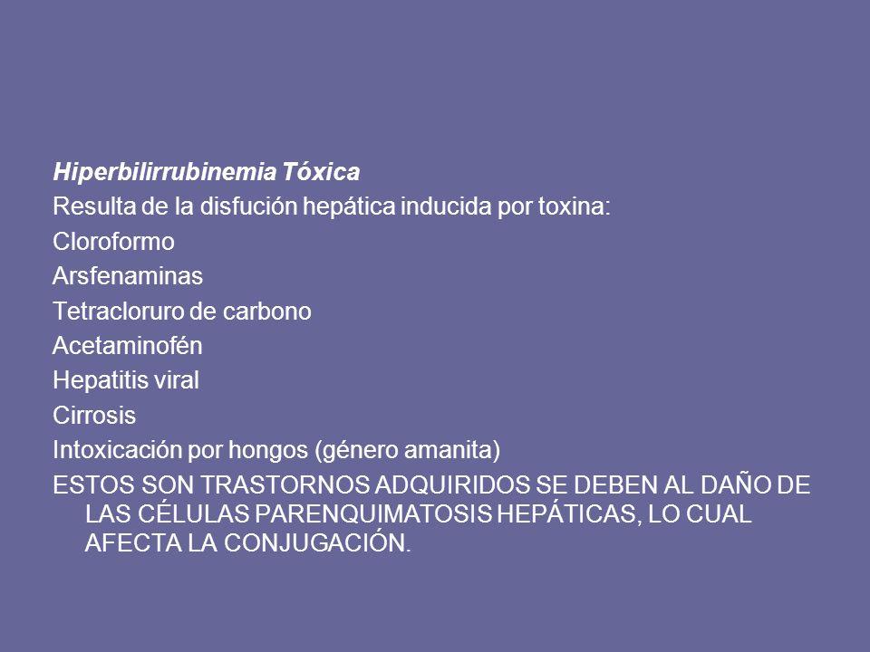 Hiperbilirrubinemia Tóxica Resulta de la disfución hepática inducida por toxina: Cloroformo Arsfenaminas Tetracloruro de carbono Acetaminofén Hepatiti
