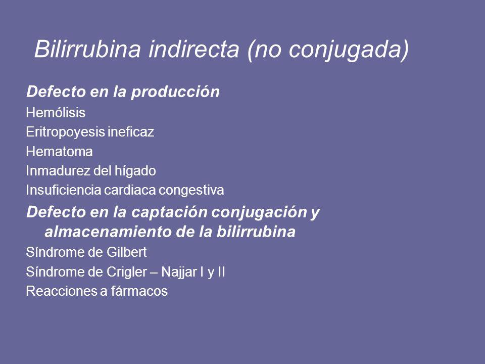 Bilirrubina indirecta (no conjugada) Defecto en la producción Hemólisis Eritropoyesis ineficaz Hematoma Inmadurez del hígado Insuficiencia cardiaca co