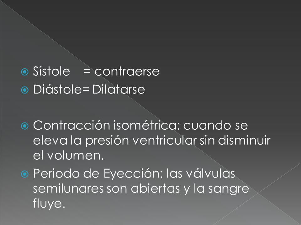 Sístole = contraerse Diástole= Dilatarse Contracción isométrica: cuando se eleva la presión ventricular sin disminuir el volumen. Periodo de Eyección: