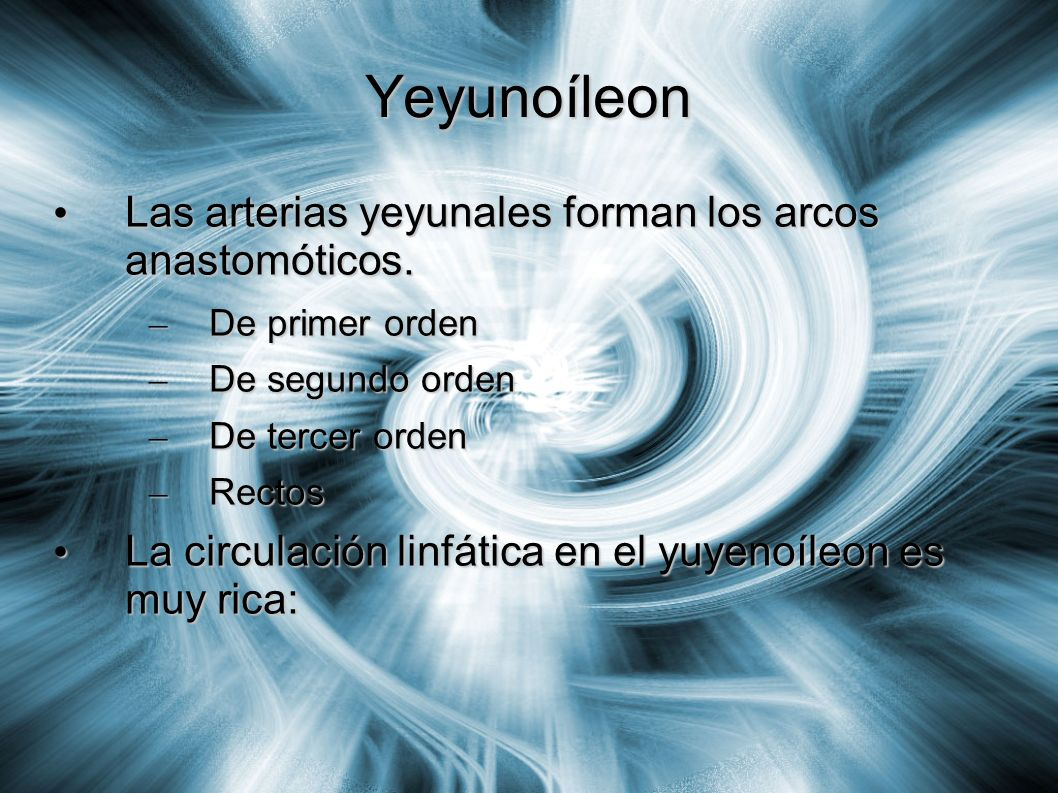 Yeyunoíleon Las arterias yeyunales forman los arcos anastomóticos. Las arterias yeyunales forman los arcos anastomóticos. – De primer orden – De segun