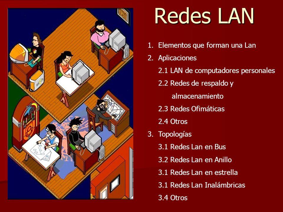 Redes LAN Redes LAN 1.Elementos que forman una Lan 2.Aplicaciones 2.1 LAN de computadores personales 2.2 Redes de respaldo y almacenamiento 2.3 Redes