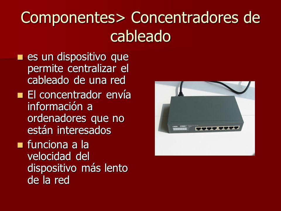 Componentes> Concentradores de cableado es un dispositivo que permite centralizar el cableado de una red es un dispositivo que permite centralizar el