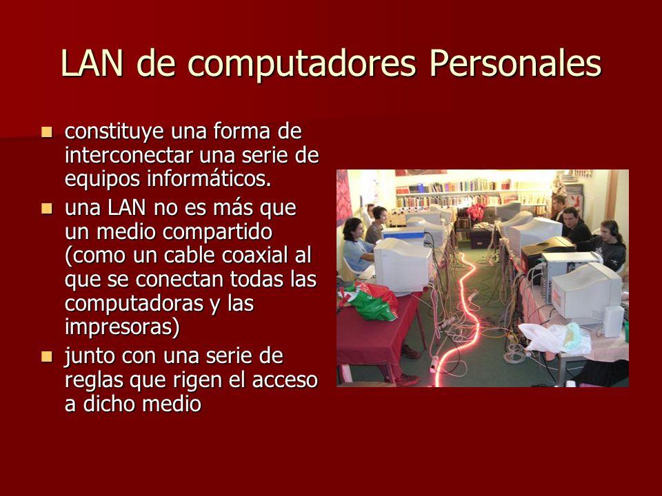 LAN de computadores Personales constituye una forma de interconectar una serie de equipos informáticos. constituye una forma de interconectar una seri