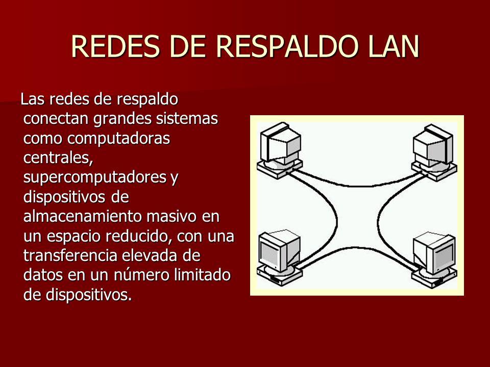 REDES DE RESPALDO LAN Las redes de respaldo conectan grandes sistemas como computadoras centrales, supercomputadores y dispositivos de almacenamiento