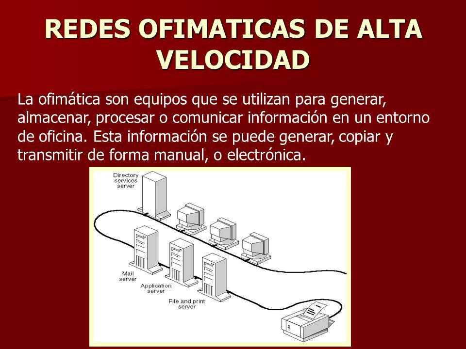 REDES OFIMATICAS DE ALTA VELOCIDAD La ofimática son equipos que se utilizan para generar, almacenar, procesar o comunicar información en un entorno de