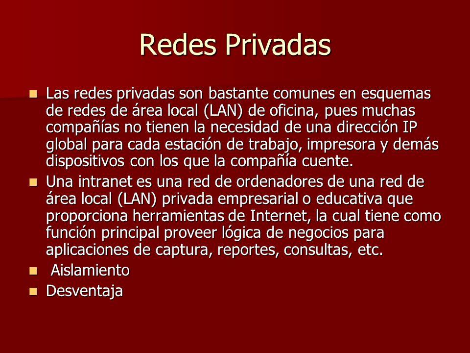 Redes Privadas Las redes privadas son bastante comunes en esquemas de redes de área local (LAN) de oficina, pues muchas compañías no tienen la necesid