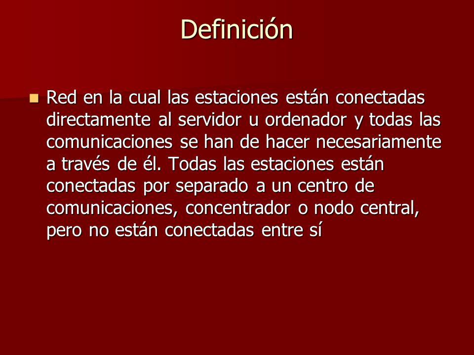 Definición Red en la cual las estaciones están conectadas directamente al servidor u ordenador y todas las comunicaciones se han de hacer necesariamen