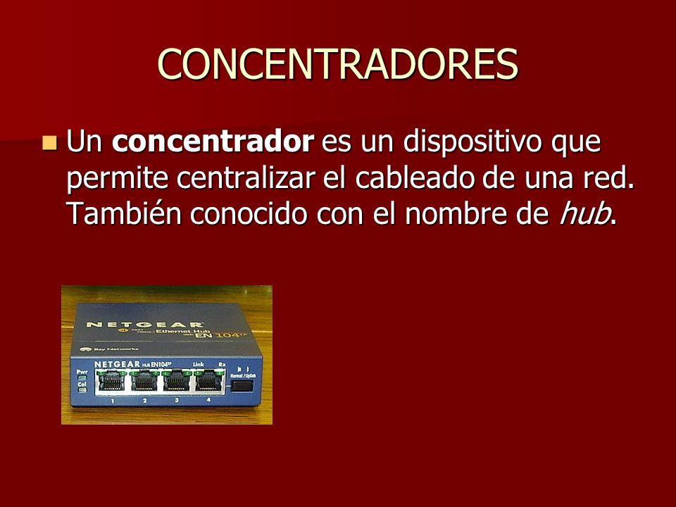 CONCENTRADORES Un concentrador es un dispositivo que permite centralizar el cableado de una red. También conocido con el nombre de hub. Un concentrado