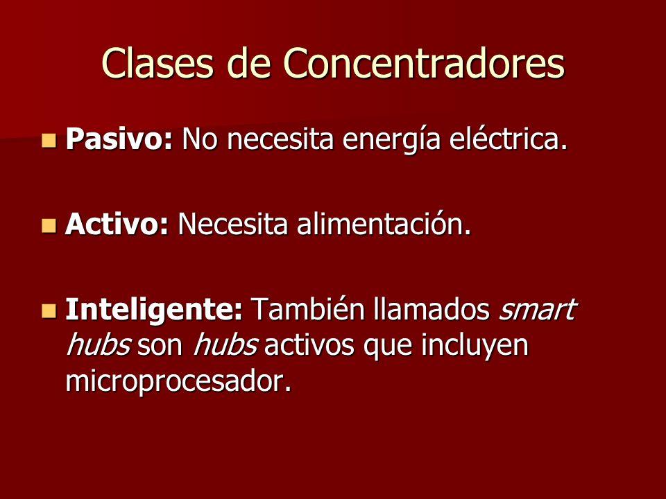 Clases de Concentradores Pasivo: No necesita energía eléctrica. Pasivo: No necesita energía eléctrica. Activo: Necesita alimentación. Activo: Necesita