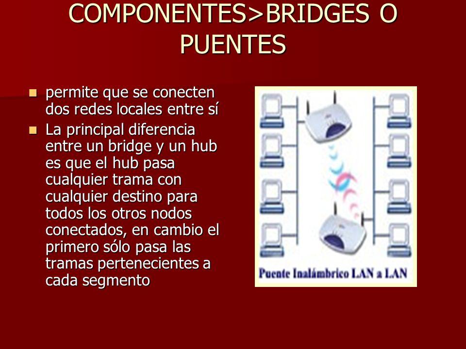 COMPONENTES>BRIDGES O PUENTES permite que se conecten dos redes locales entre sí permite que se conecten dos redes locales entre sí La principal difer
