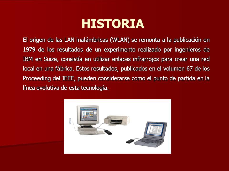 HISTORIA El origen de las LAN inalámbricas (WLAN) se remonta a la publicación en 1979 de los resultados de un experimento realizado por ingenieros de
