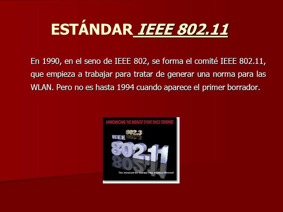 IEEE 802.11 ESTÁNDAR IEEE 802.11 En 1990, en el seno de IEEE 802, se forma el comité IEEE 802.11, que empieza a trabajar para tratar de generar una no
