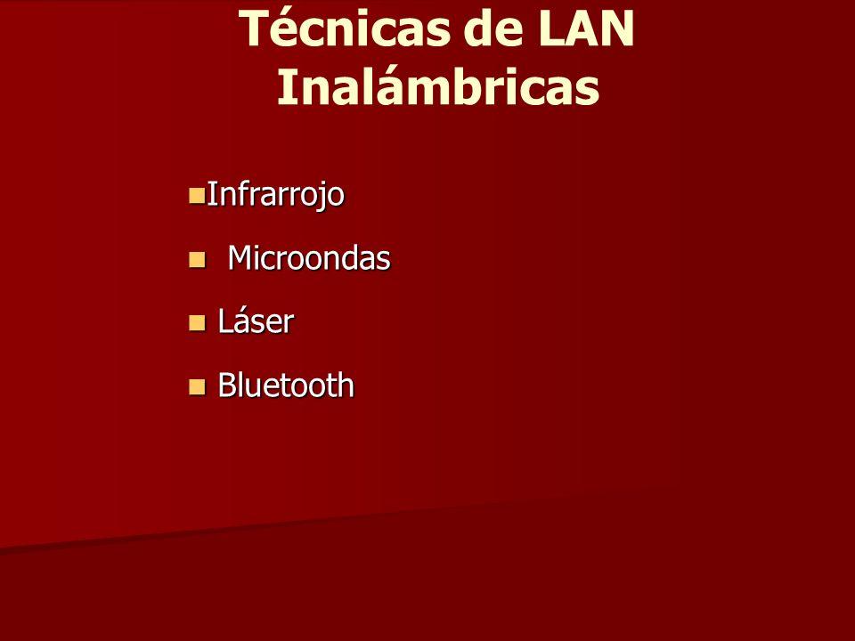 Técnicas de LAN Inalámbricas Infrarrojo Infrarrojo Microondas Microondas Láser Láser Bluetooth Bluetooth